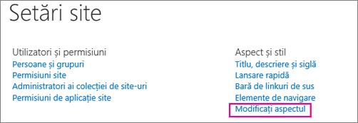 Modificați opțiunea de aspect, sub Setări site.