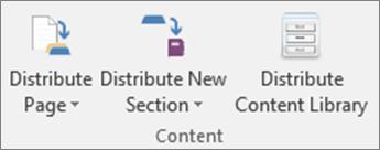 Pictogramele din fila blocnotes școlar, inclusiv distribuirea pagină, distribuirea secțiune nouă și distribuirea bibliotecă de conținut.