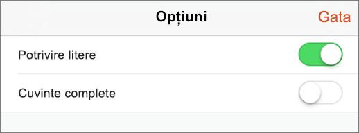Afișează căutării opțiuni în PowerPoint pentru iPhone.