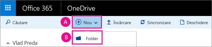 Creați un folder nou în OneDrive pentru business.