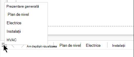 Selectați butonul pagină-listă pentru a vedea și a selecta dintr-o listă completă de pagini din fișierul de desen curent.