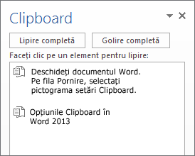 Clipboard cu mai multe elemente