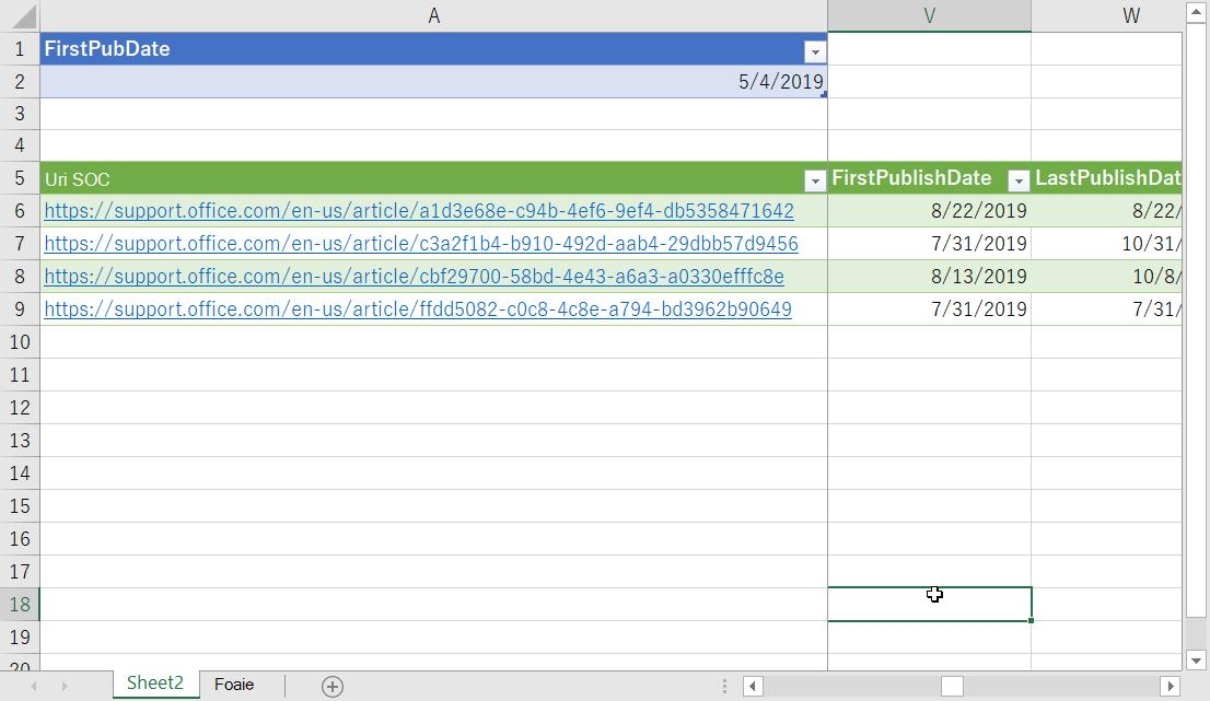 Date filtrate în Excel
