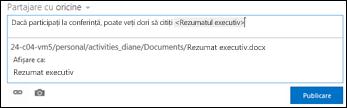 Adresa URL a documentului într-o publicare de flux de știri formatată cu text de afișare