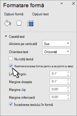 Formatare formă cu redimensionare formă pentru textul selectat