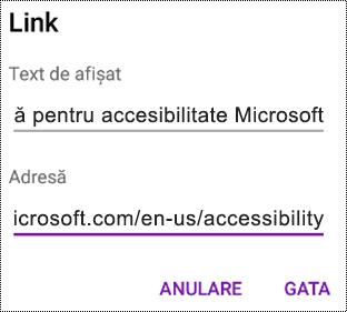 Caseta de dialog Adăugare hyperlink din OneNote pentru Android