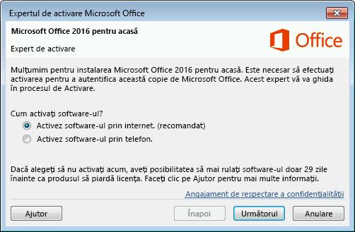 Va apărea Expertul de activare Microsoft Office.