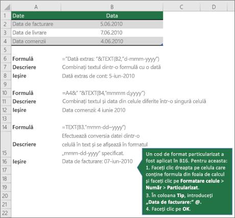 Exemple pentru a arăta cum formule puteți combina text cu valori dată și oră