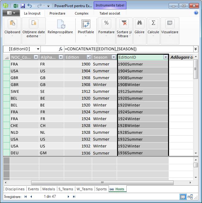 Tabelul Hosts cu câmpul calculat DAX creat