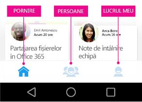 Meniul principal Delve pentru Android