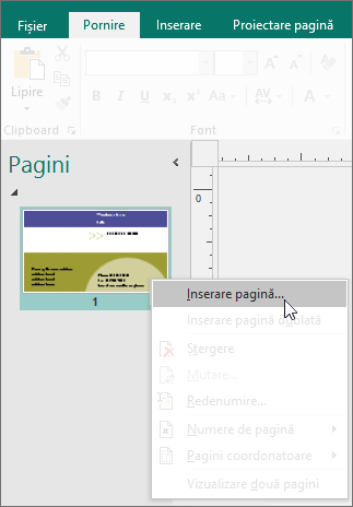 Inserare pagină în panoul de navigare Pagini din Publisher.
