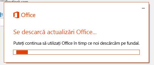 Caseta de dialog Descărcarea actualizărilor Office
