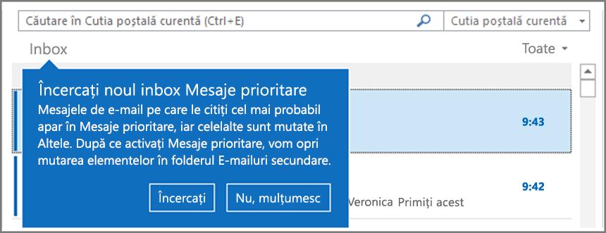 Imagine cu aspectul caracteristicii Mesaje prioritare atunci când este distribuită pentru utilizatori și Outlook este redeschis.