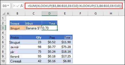 Utilizarea XLOOKUP cu SUM pentru a totaliza o zonă de valori care se încadrează între două selecții