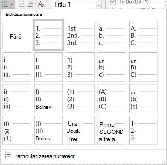 Captură de ecran a opțiunii Listă numerotată în meniul Pornire.