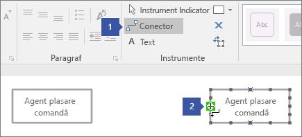 1 indică spre instrumentul conector, 2 indicând spre cursorul mențineți indicatorul peste verde evidențiată punct de conexiune pe linie de viață formă