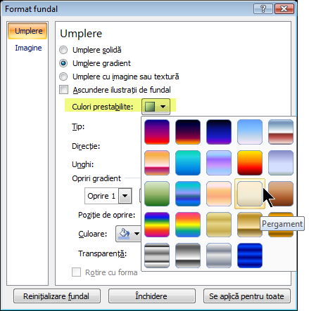 Pentru a utiliza un gradient prestabilit, selectați Culori prestabilite și selectați o opțiune.