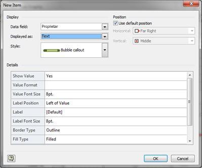 Caseta de dialog Element nou cu opțiunea Text selectată
