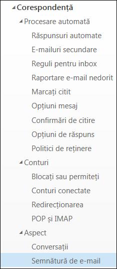 Semnătură de e-mail Outlook pe web