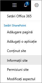 Meniul Setări cu informațiile de site selectate