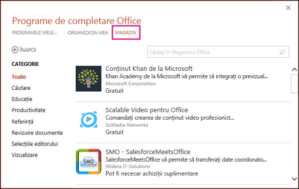 Caseta de dialog Programe de completare Office, cu butonul Magazin evidențiat