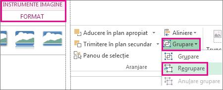 Butonul Regrupare pe fila Instrumente imagine - Format