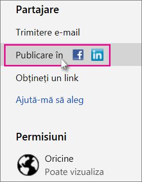 Specificați o rețea socială în care să publicați
