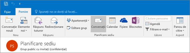 Iată cum arată antet pentru grupuri în Outlook 2016