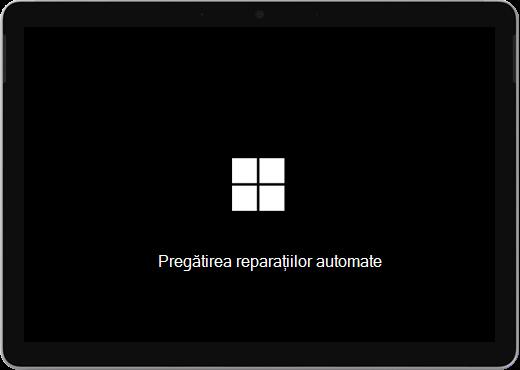 """Un ecran negru cu sigla Windows și text care spune """"Se pregătește repararea automată""""."""