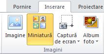 Comanda miniatură pe fila Inserare din panglică în PowerPoint 2010