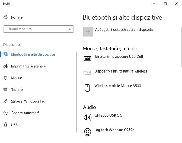 Bluetooth și alte setări dispozitiv