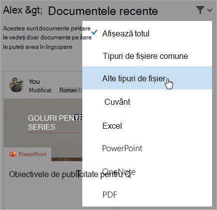 Captură de ecran a paginii de documente recente, cu lista de filtre deschisă.