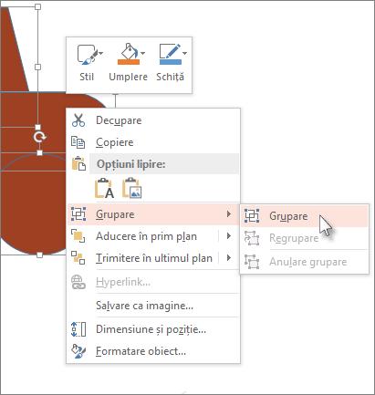 Selectarea și gruparea obiectelor într-un diapozitiv