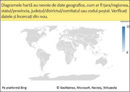 Diagramă hartă Excel cu date ambigue