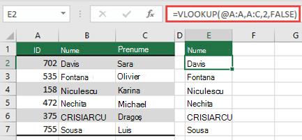 Utilizați operatorul @ și copiați în jos: = VLOOKUP (@ A:A, A:C, 2, FALSE). Acest stil de referință va funcționa în tabele, dar nu va returna o matrice dinamică.
