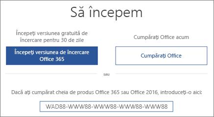 """Afișează ecranul """"Să începem"""", care indică faptul că o versiune de încercare Office 365 este inclusă pe acest dispozitiv"""