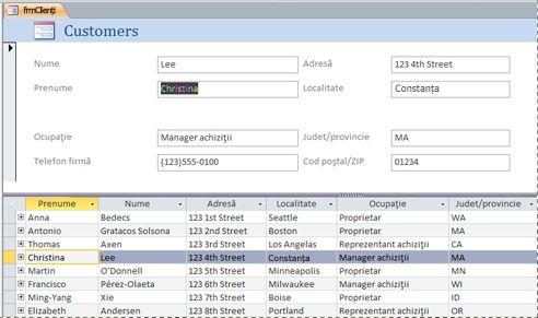 Un formular scindat într-o bază de date Access