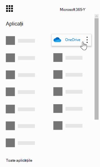 Lansatorul de aplicații Office 365 cu aplicația OneDrive evidențiată