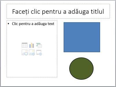 Un diapozitiv cu doi substituenți și două obiecte individuale