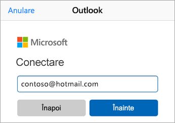 Introduceți adresa de e-mail Outlook.com