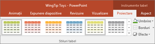 afișează stilurile de tabel din powerpoint