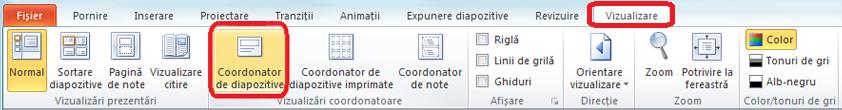 Fila Vizualizare din PowerPoint, unde puteți comuta la vizualizarea Coordonator de diapozitive