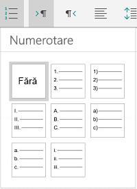 Opțiuni de numerotare