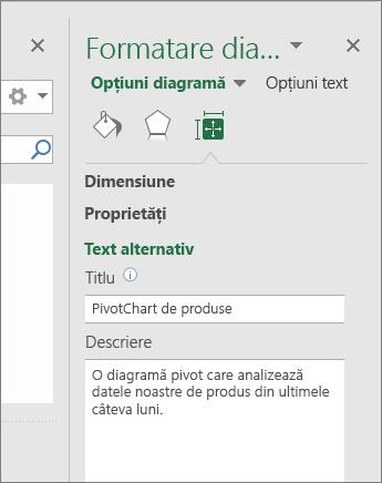 Captură de ecran cu zona Text alternativ din panoul Formatare suprafață diagramă care descrie raportul PivotChart selectat