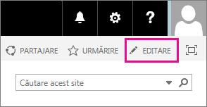 Captură de ecran a pictogramei de editare de pe pagina de pornire a site-ul dvs. de echipă