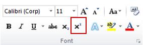 comanda exponent din grupul font