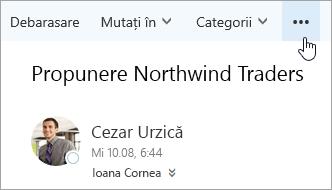 Captură de ecran a butonului Mai multe comenzi pe bara de meniu din Outlook.