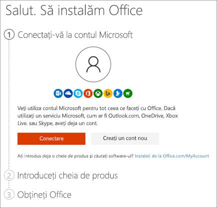 Afișează pagina setup.office.com unde vă puteți valorifica cheia de produs