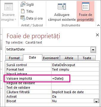 Foaie de proprietăți afișând proprietatea Valoare implicită setată la Date().