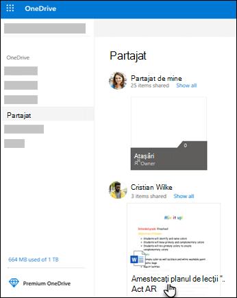 Foldere partajate OneDrive